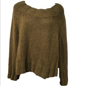 Free People Olive Army Green Knit Sweater Small